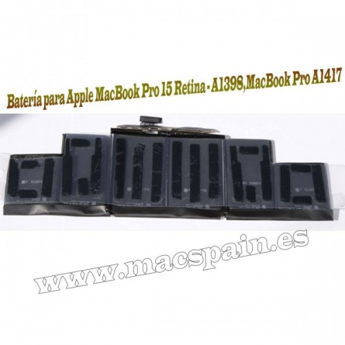 A1417 Batería para Apple MacBook Pro 15 Retina - A1398 - (Mid 2012 / Early 2013) (8450mAh)