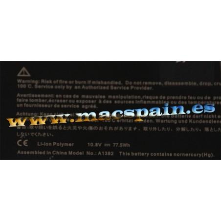 77.5Wh Batería de repuesto para APPLE A1382