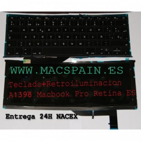 "Teclado con Backlight Macbook Pro A1398 15"" RETINA Version español"