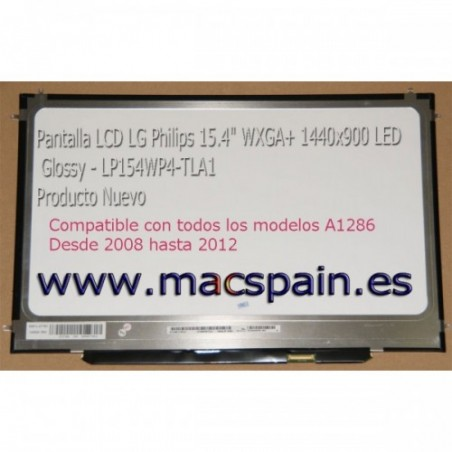 Pantalla LED LP154WP4-TLA1 MacBook Pro A1286 año 2008 hasta 2012